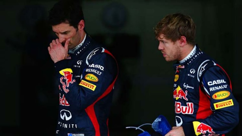 Strained relationship: Mark Webber, left, and his Red Bull teammate Sebastian Vettel.