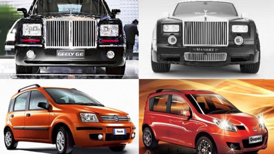 Top, left to right: Geely GE v Rolls-Royce Phantom limousine. Bottom, left to right: Fiat Panda v Great Wall Peri