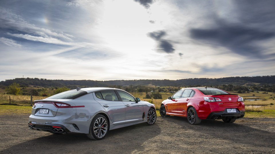 The last Holden Commodore SS-V Redline takes on the new Kia Stinger.