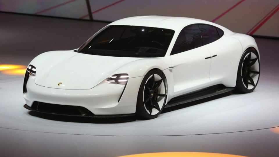 A Porsche Mission E hybrid automobile, produced by Volkswagen AG (VW), is presented during a VW event ahead of the IAA Frankfurt Motor Show in Frankfurt, Germany, on Monday, Sept. 14, 2015. The Frankfurt International Motor Show starts on Thursday, and ne