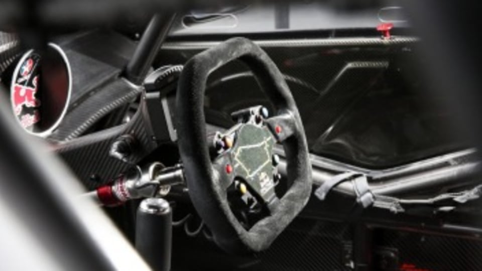Built for speed: The steering wheel of Lowndes' racer.
