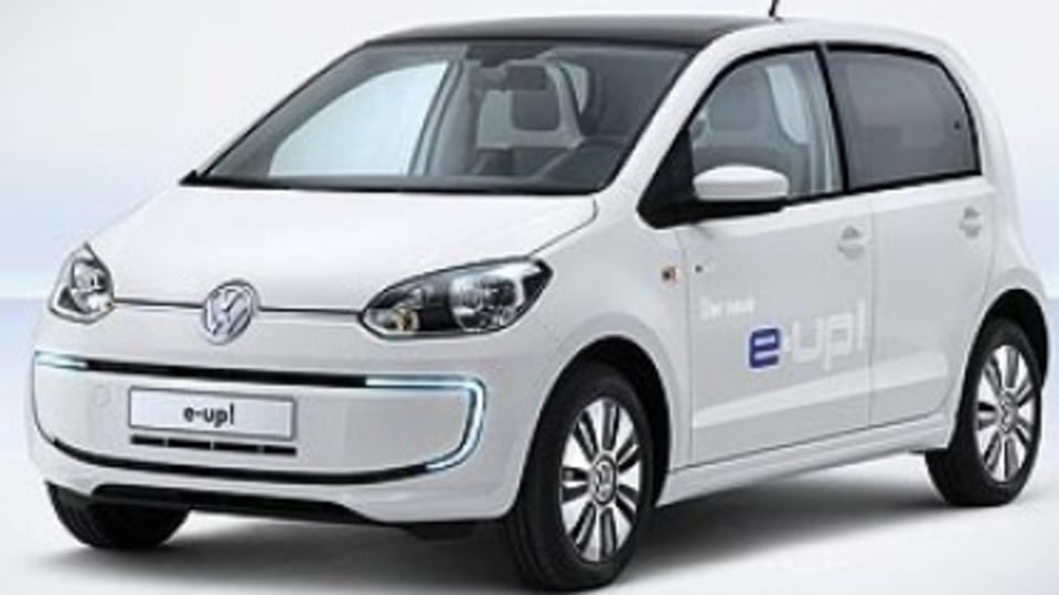 The Volkswagen E-Up is the company's first all-electric production car, with styling changes over the standard petrol version including LED daytime running lights, revised bumpers and side skirts, blue-backed VW badges and 15-inch alloy wheels.The inter