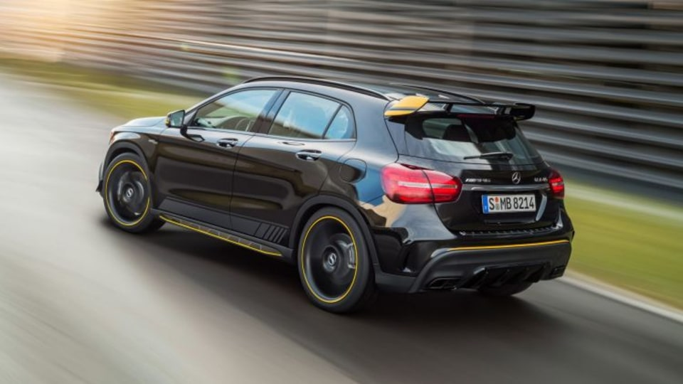 2017 Mercedes-AMG GLA45 with the Yellow Night Edition pack added.