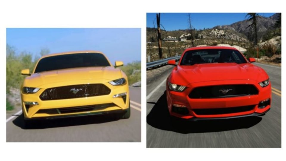 The 2018 Mustang (left) and current model (right)