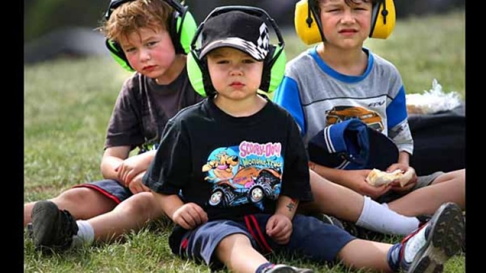 Brucknell brothers Max 5yrs, Brandon 4yrs and Dylan 7yrs trackside at Albert Park.