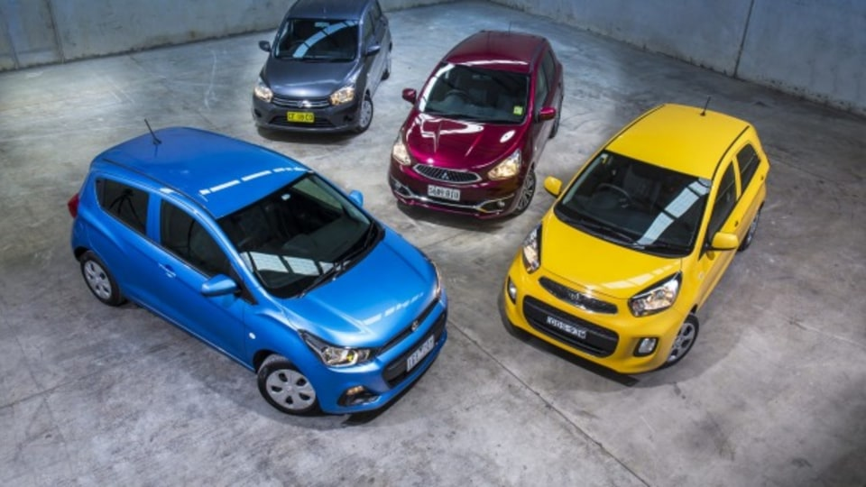 A host of new cut-price city cars including the Holden Spark, Kia Picanto, Mitsubishi Mirage and Suzuki Celerio battle it out.