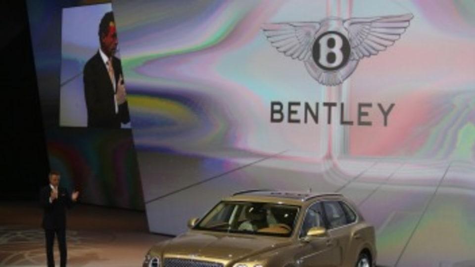 Wolfgang Durheimer, chief executive  of Bentley Motors  speaks as the Bentley Bentayga SUV  is unveiled.