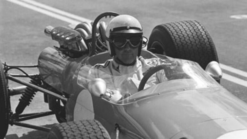 Motor racing driver Jack Brabham during a practise session at Oran Park raceway, 14 February 1968.
