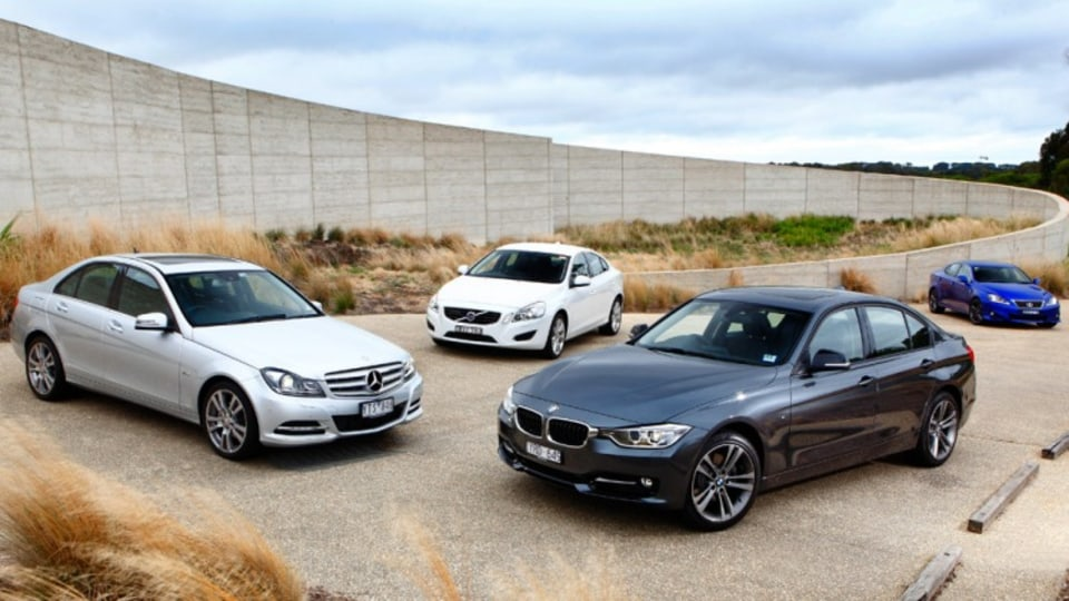 The updated BMW 3-Series takes on the Mercedes-Benz C250, Lexus IS350 and Volvo S60, to see which one is the boss.
