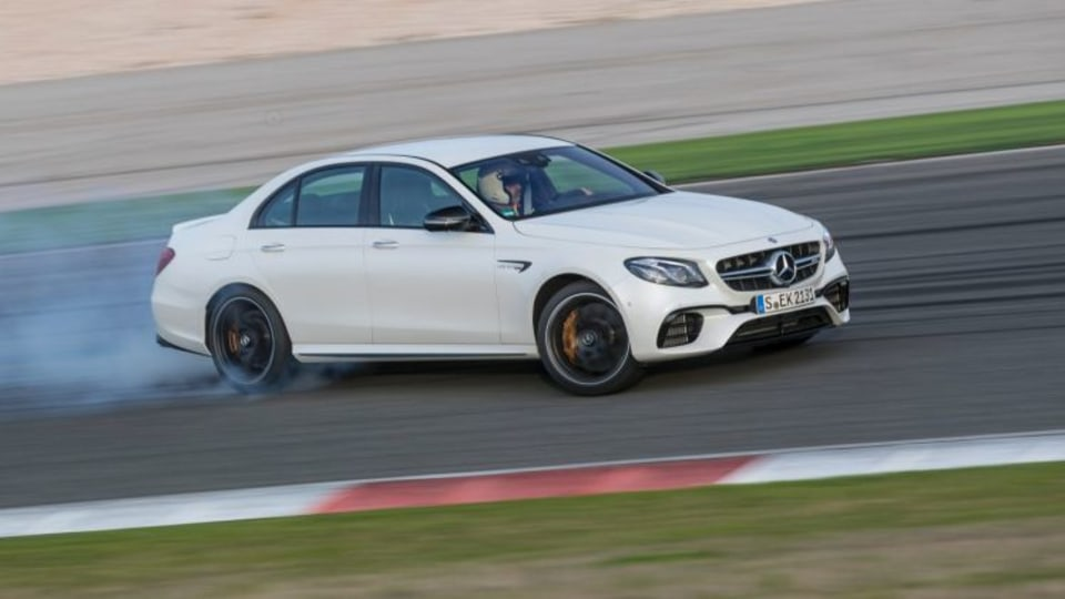 The new Mercedes-AMG E63, has a drift mode for track driving.