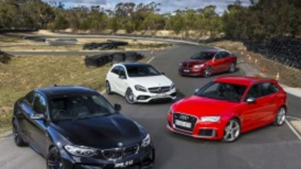 BMW's M2 takes on the Audi RS3 Sportback, Mercedes-AMG A45 and HSV ClubSport LSA.