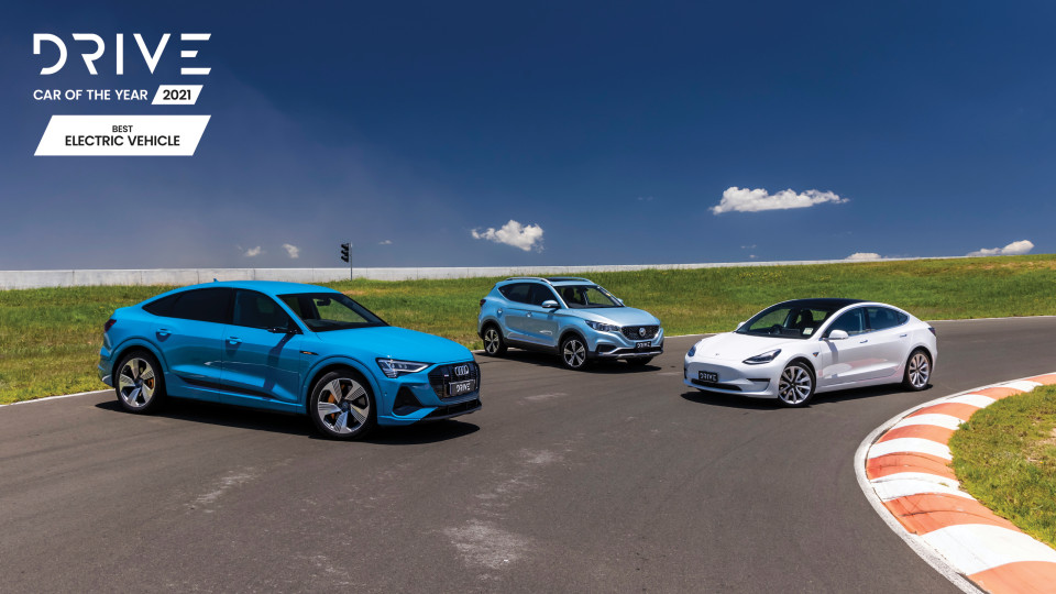 Drive Car of the Year 2021 Best Electric Vehicle finalists group photo