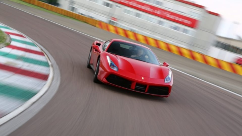 The 2015 Ferrari 488 GTB is at home on the company's Fiorano test track.