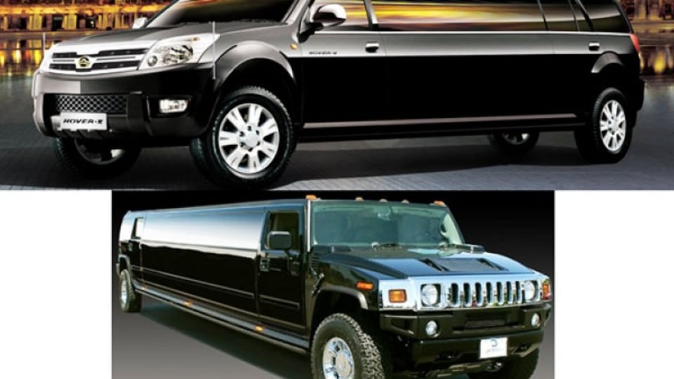 Top to bottom, Great Wall Hover v Hummer stretch limo