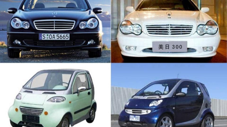 Top, left to right: Mercedes C-Class v Geely Merrie 300. Bottom, left to right: Shuanghuan v Smart Fortwo