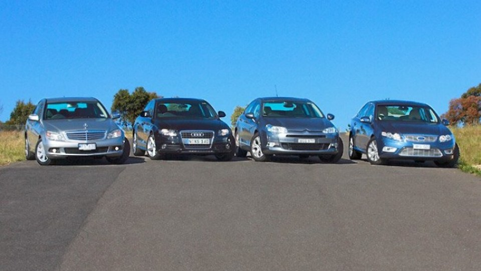 Best Luxury Car Under $60,000: Mercedes-Benz C200K Classic, Audi A4 1.8T, Citroen C5 2.0, Ford Falcon G6E (left to right)
