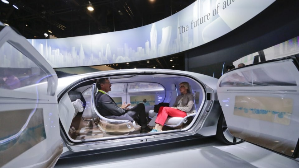 Inside the self-driving F015 Mercedes-Benz.