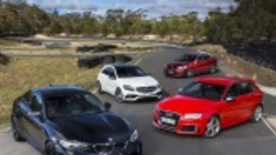 BMW M2 v Audi RS3 Sportback v Mercedes-AMG A45 v HSV Clubsport LSA