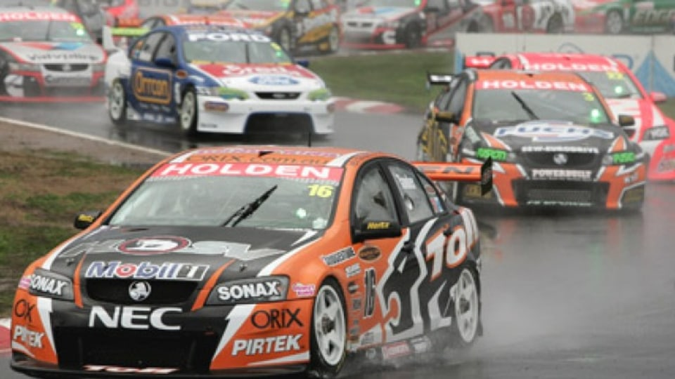 Garth Tander of the Toll HSV Dealer Team leads at the start of race one of round four of the V8 Supercar Championship Series at Winton Motor Raceway on May 19, 2007 in Winton, Australia. Picture: Getty Images
