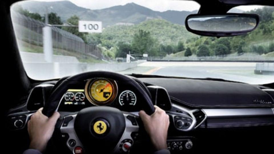 Inside a Ferrari Italia 458.