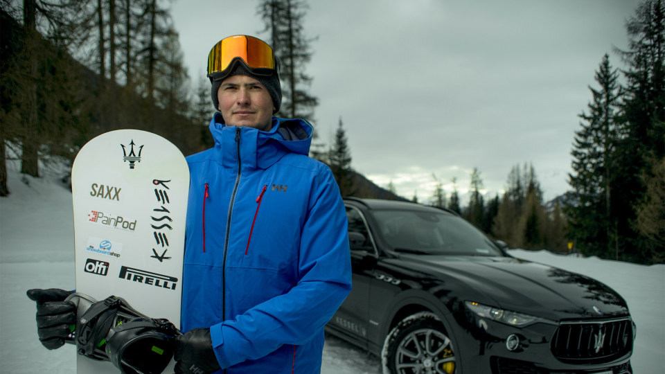 Jamie Barrow sets the Guinness World Record for the fastest snowboarder towed by a vehicle.
