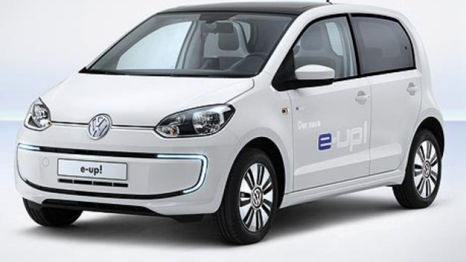 The Volkswagen E-Up is the company's first all-electric production car, with styling changes over the standard petrol version including LED daytime running lights, revised bumpers and side skirts, blue-backed VW badges and 15-inch alloy wheels.The i