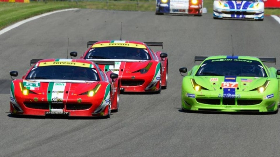 Ferrari competing in the World Endurance Championship with GT racing versions of its 458 Italia.