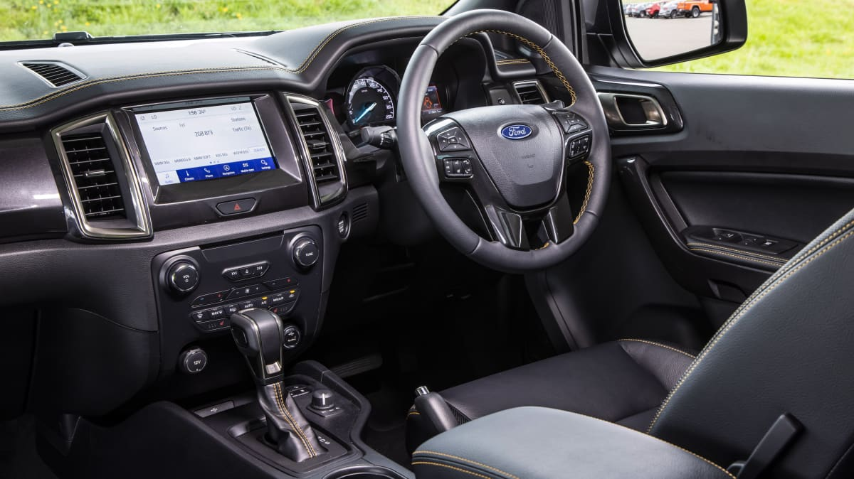 Drive Car of the Year Best Dual Cab Ute 2021 finalist Ford Ranger interior view of infotainment system and steering wheel