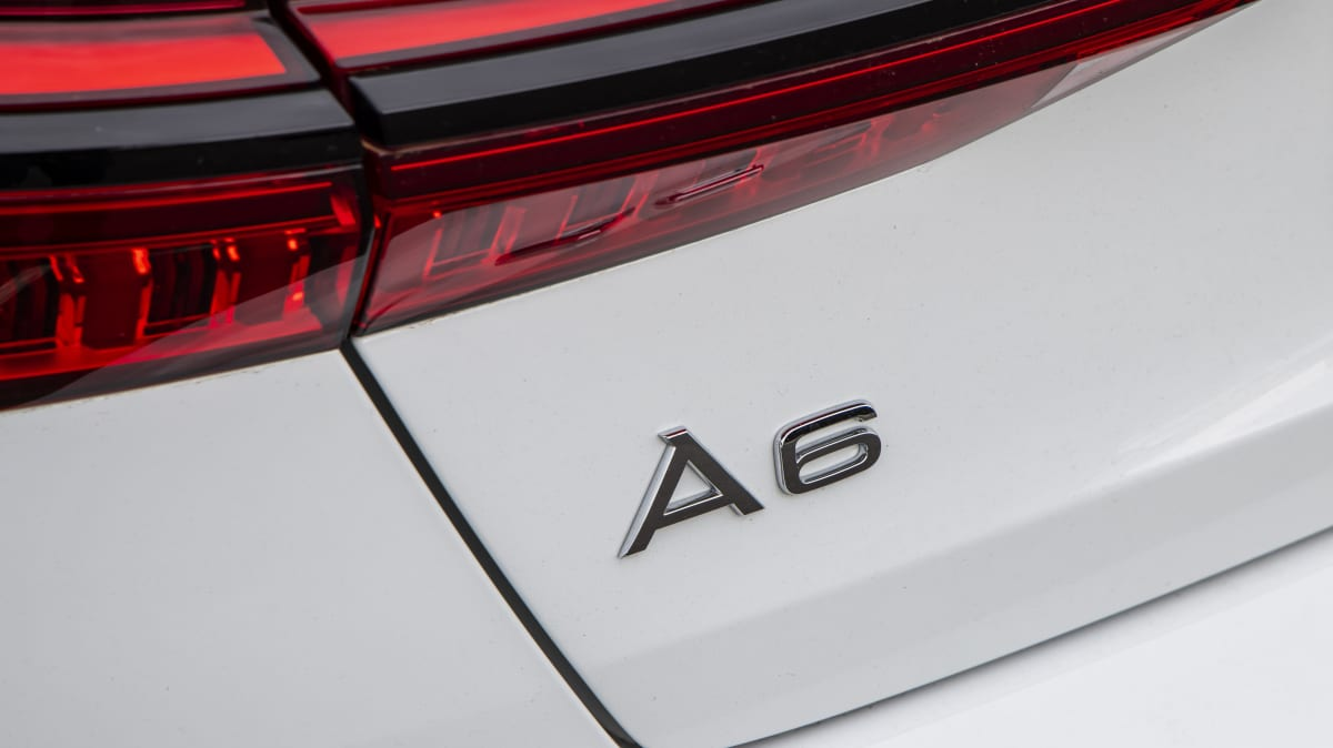 Drive Car of the Year Best Large Luxury Car 2021 finalist Audi A6 exterior rear label close-up