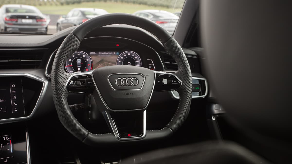 Drive Car of the Year Best Large Luxury Car 2021 finalist Audi A6 steering wheel close-up