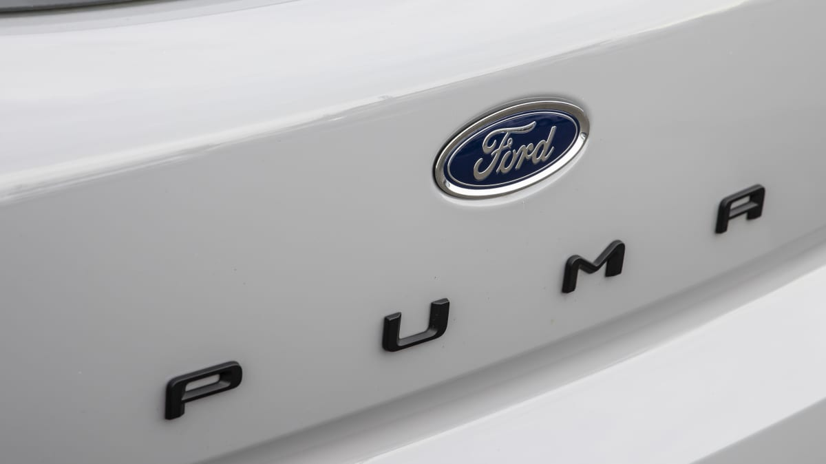 Drive Car of the Year Best Light SUV 2021 finalist Ford Puma rear badge and label close-up