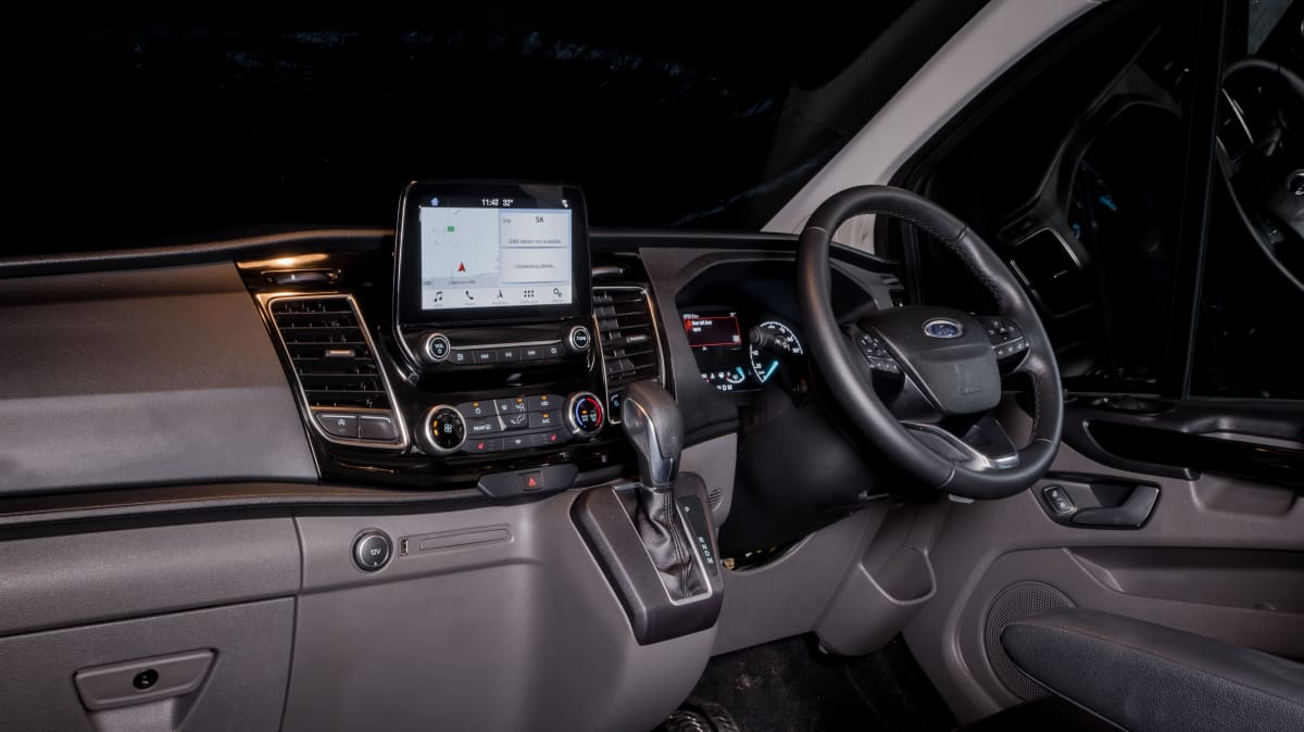 Drive 2021 Best Van finalist Ford Transit infotainment system and steering wheel