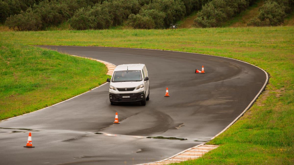 Drive 2021 Best Van finalist Peugeot Expert 6 driven on road circuit wide shot