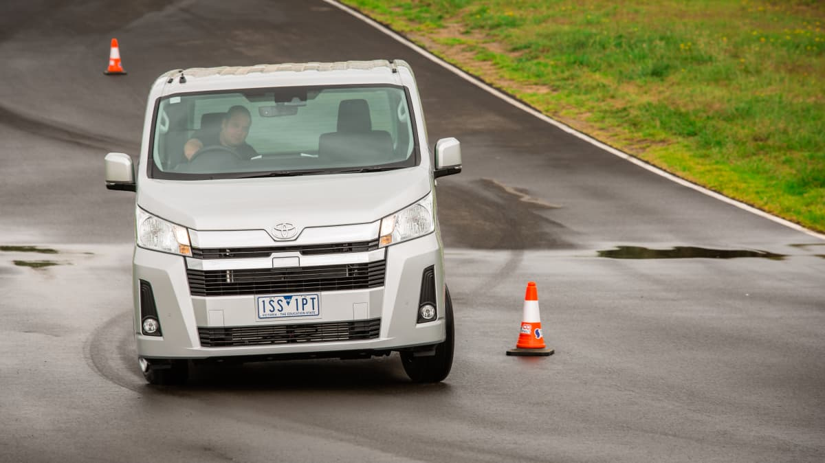 Drive Car of the Year Best Van 2021 finalist Toyota Hiace driven on road circuit