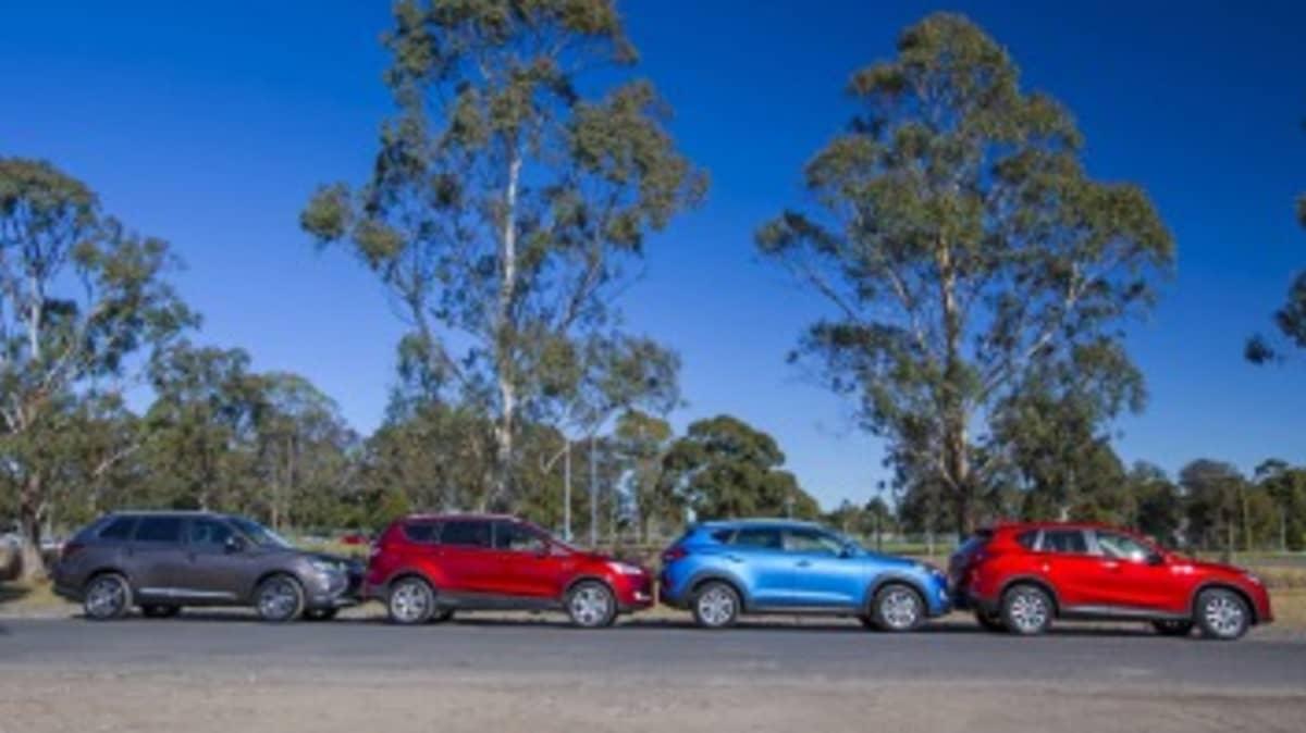 L-R: Mitsubishi Outlander, Ford Kuga, Hyundai Tucson, Mazda CX-5.