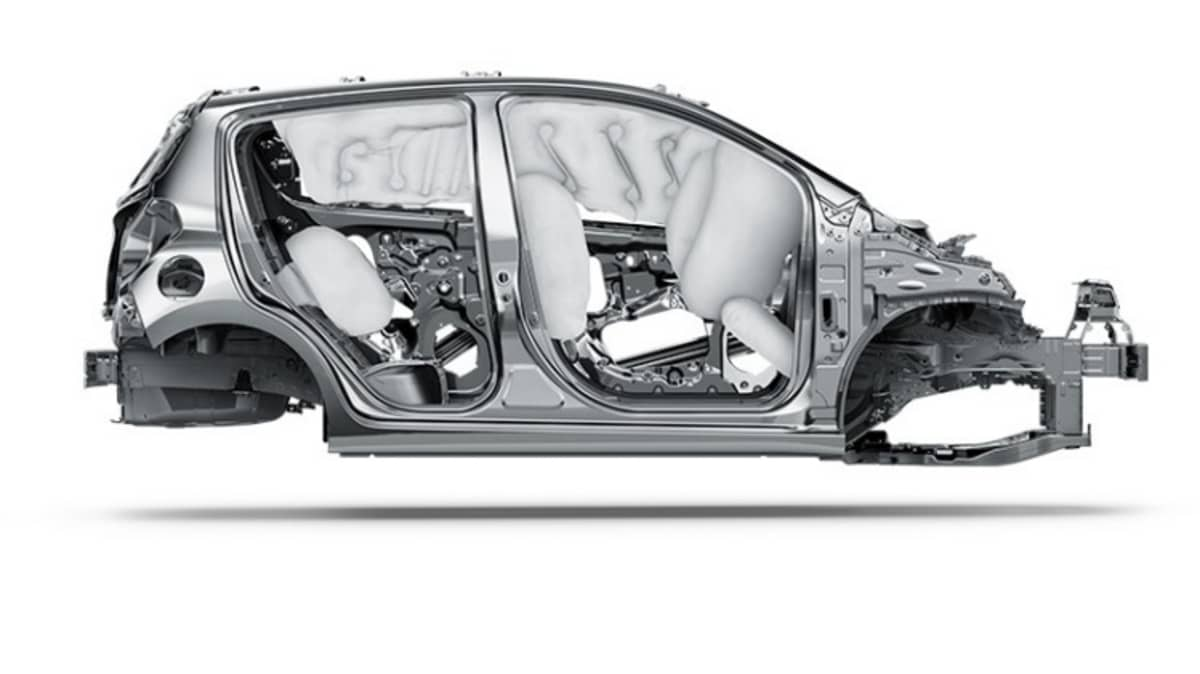 The Chevy Spark has front knee and rear thorax airbags that are not available in local models.