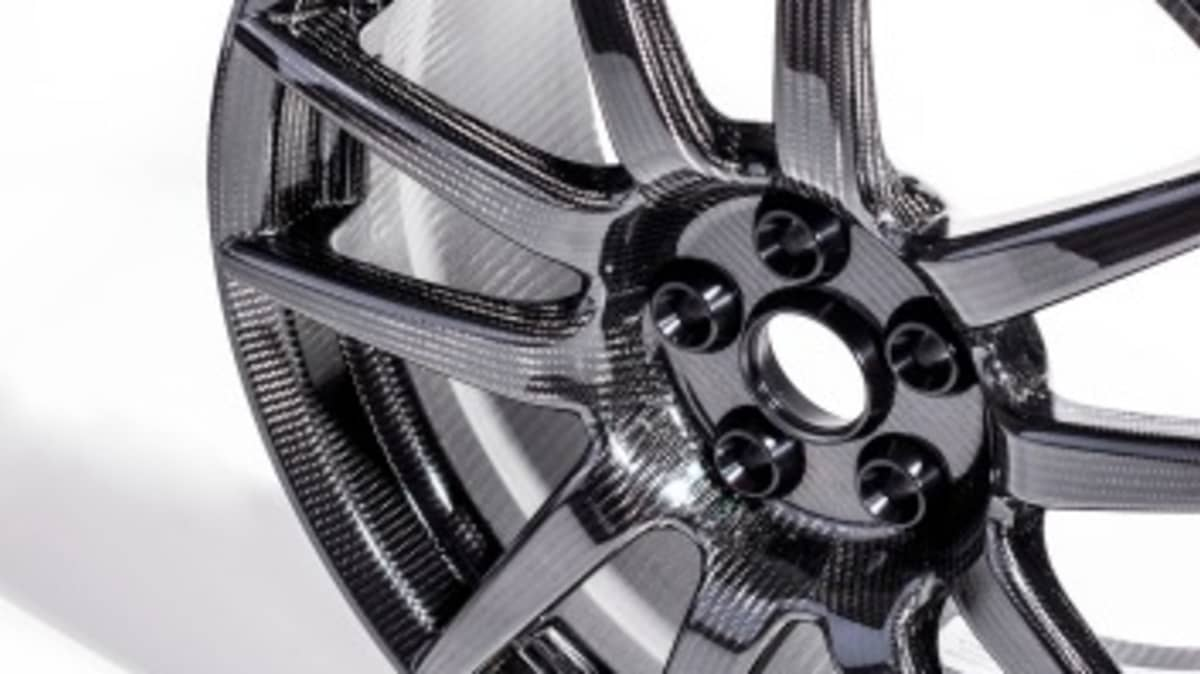 The carbon fibre wheels are lighter and stronger than conventional alloys.
