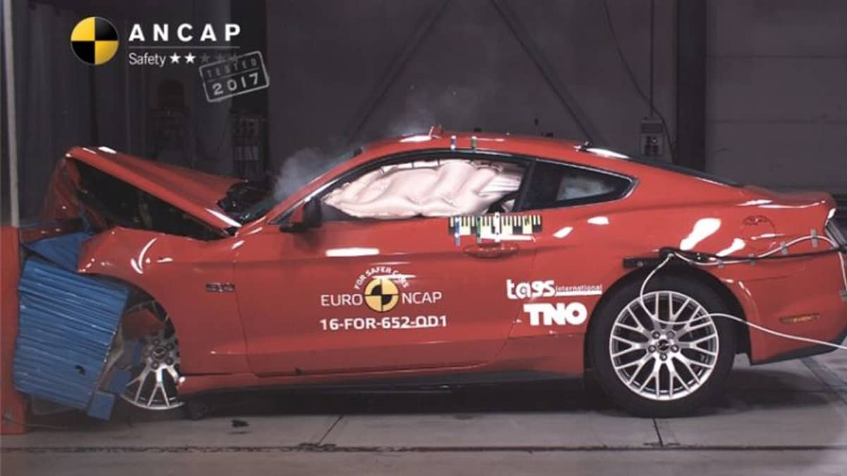 The Ford Mustang received a two-star crash test rating.