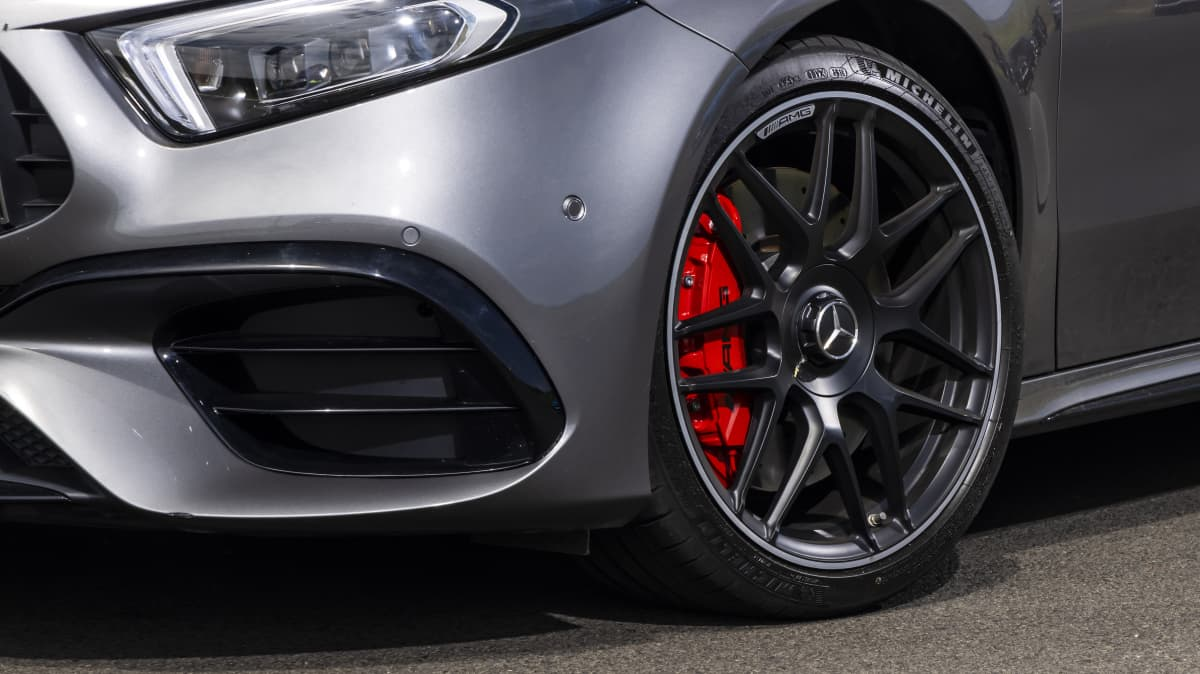 Drive Car of the Year Best Sports Car Under $100k finalist Mercedes-AMG A45 S front left wheel close-up