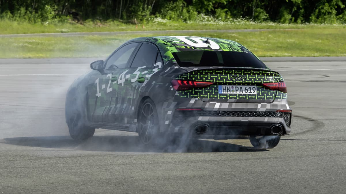 2022 Audi RS3 prototype testing drift mode.