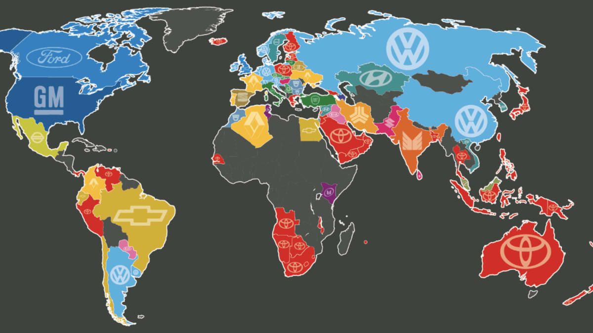 Most popular brands world map