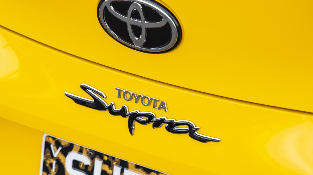 Drive Car of the Year Best Sports Car Under $100k finalist Toyota GR Supra rear label close-up