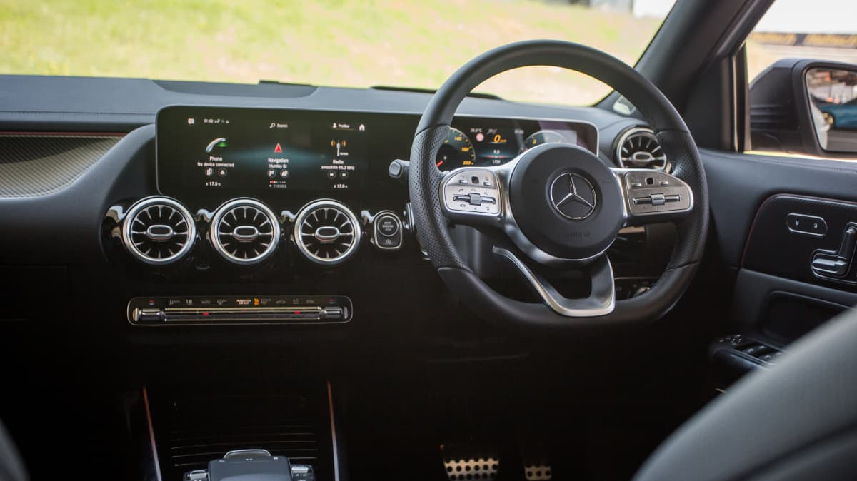 Drive Car of the Year Best Small Luxury SUV finalist Mercedes-Benz GLA infotainment system and steering
