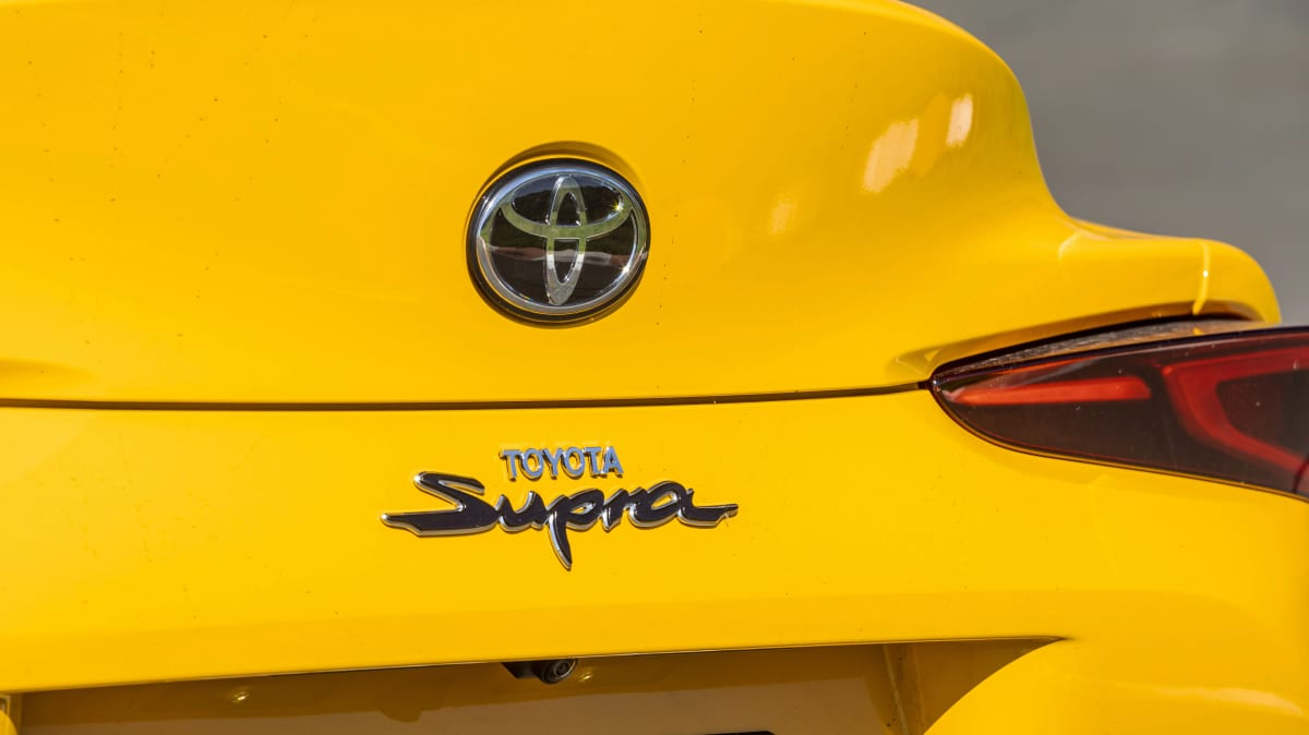 Drive Car of the Year Best Sports Car Under $100k finalist Toyota GR Supra rear label and badge