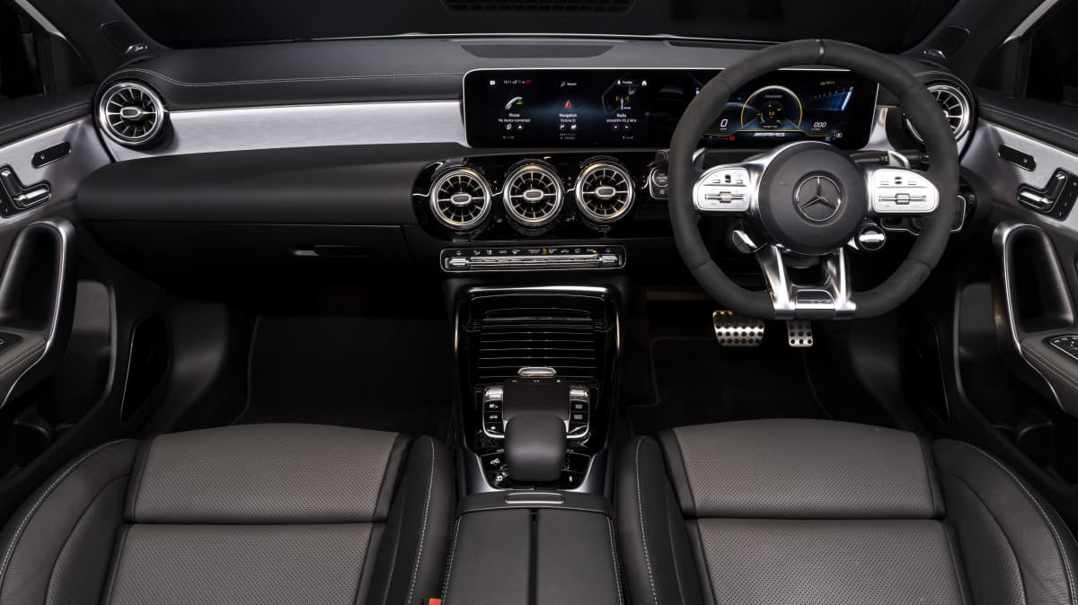 Drive Car of the Year Best Sports Car Under $100k finalist Mercedes-AMG A45 S front interior full view