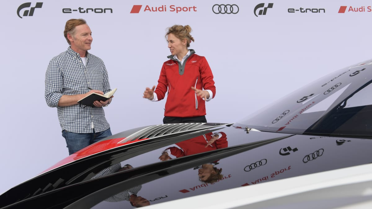 Greg Kable and Rahel Frey with the Audi e-tron Vision Gran Turismo.