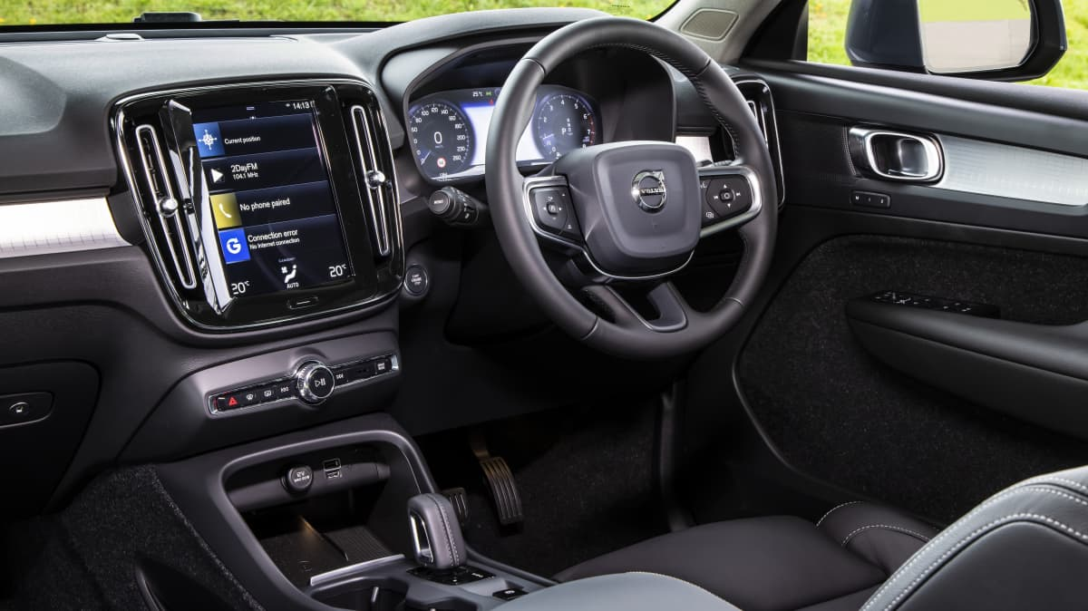 Drive Car of the Year Best Small Luxury SUV finalist Volvo XC40 front interior view of infotainment system and steering