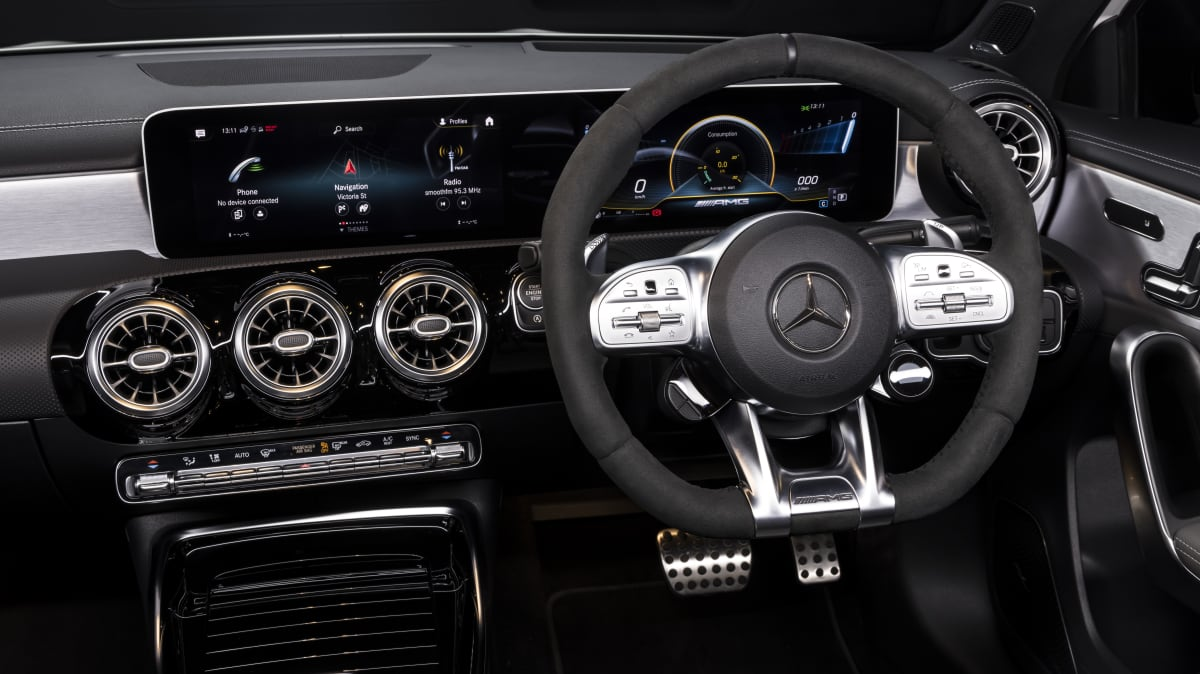 Drive Car of the Year Best Sports Car Under $100k finalist Mercedes-AMG A45 S infotainment system and steering wheel