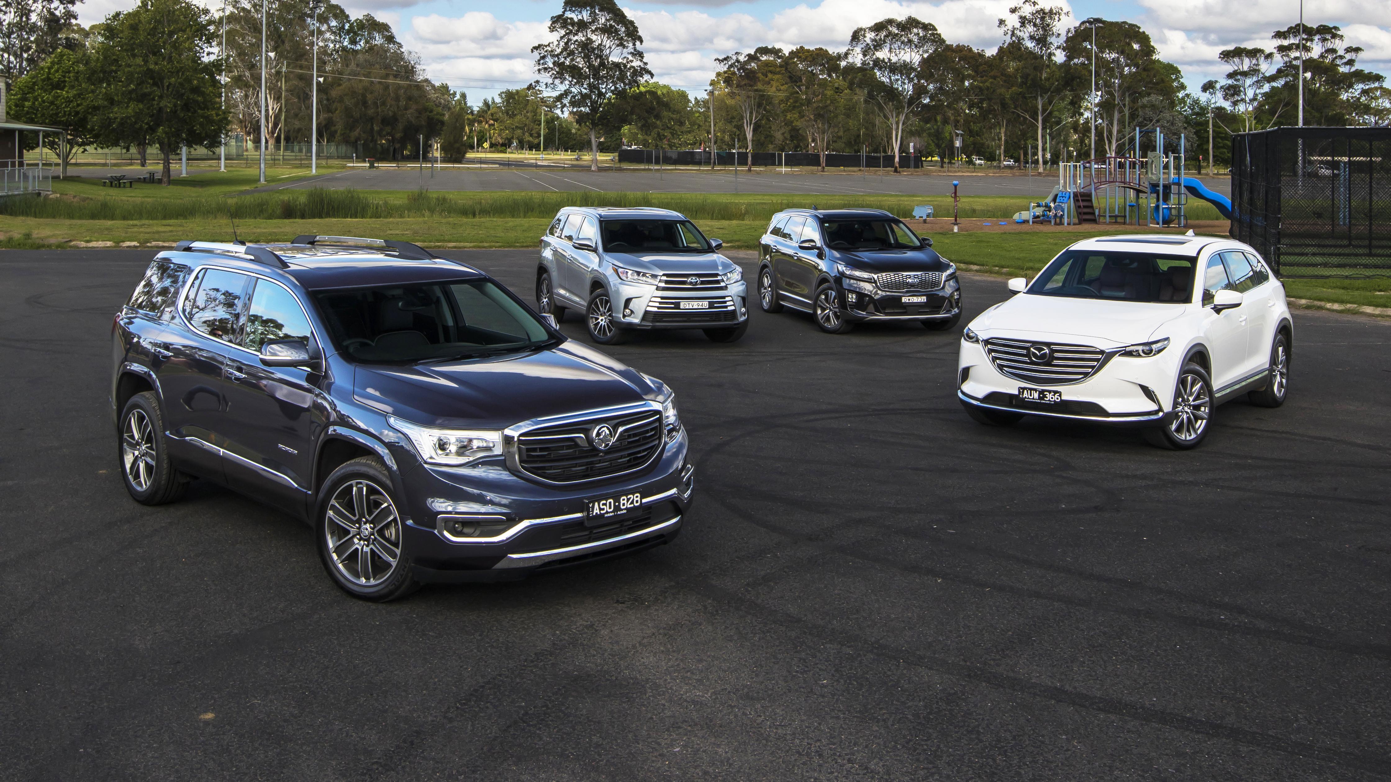 Seven-seat SUV comparison review: Holden Acadia v Kia Sorento v Mazda CX-9 v Toyota Kluger