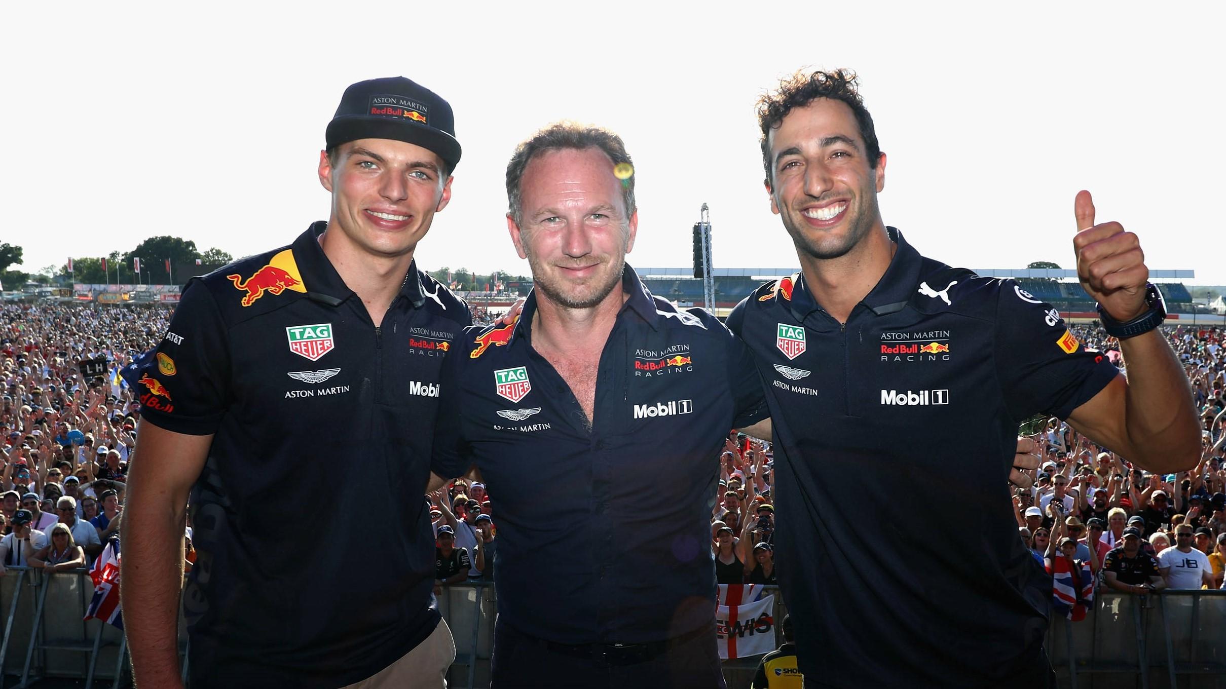 Max Verstappen, Christian Horner and Daniel Ricciardo.